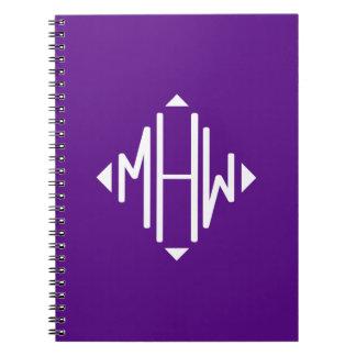 Purple White 3 Initials Diamond Shape Monogram Note Book