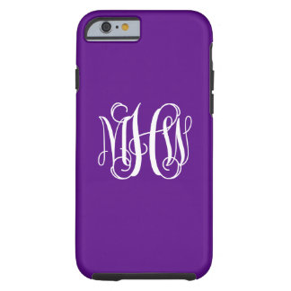 Purple White 3 Initials Vine Script Monogram Tough iPhone 6 Case