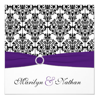 Purple, White and Black Damask Wedding Invitation