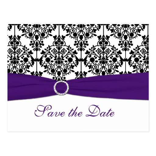 Purple, White and Black Save the Date Postcard