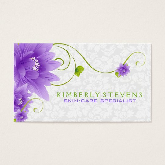 Purple White And Green Floral Illustration Business Card
