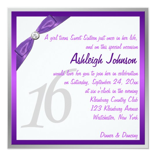Purple, White, and Silver with Crystal Sweet 16 Card