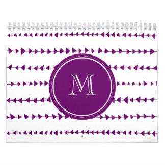 Purple White Aztec Arrows Monogram Calendars