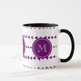 Purple White Aztec Arrows Monogram Mug