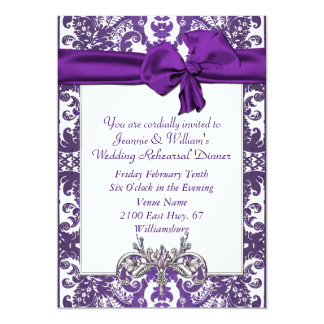 Purple & White Baroque Wedding Rehearsal Dinner Card