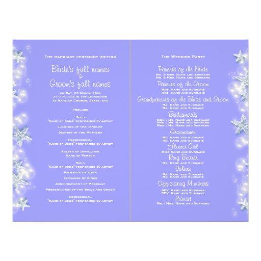 Purple white beach starfish wedding flyers