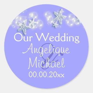 Purple white beach starfish wedding stickers