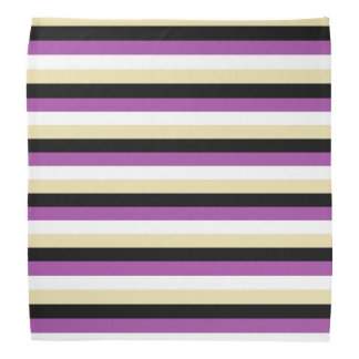 Purple, White, Beige and Black Stripes Bandana