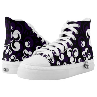 Purple White Black Reto Style Printed Shoes