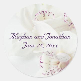 Purple White Bride Groom Names Wedding Stickers