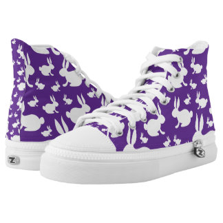 Purple White Bunny Rabbit High-Top Sneakers