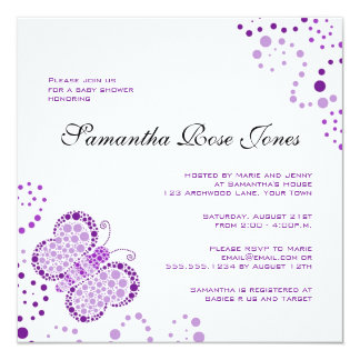 Purple & White Butterfly Elegant Baby Shower Card