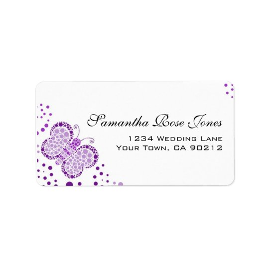 Purple White Butterfly Pointillism Custom Address Address Label