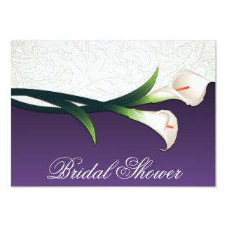 """Purple White Calla Lily Bridal Shower Invitations 5"""" X 7"""" Invitation Card"""