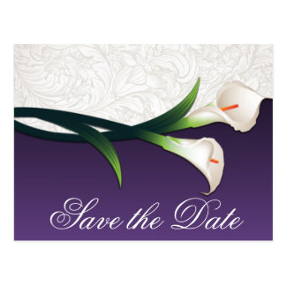 Purple & White Calla Lily Wedding Save the Dates Postcard