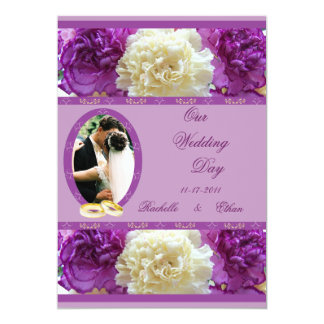 Purple & White Carnation Wedding Photo Invitations