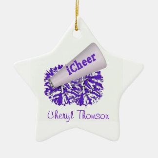 Purple & White Cheerleader Star Ornament