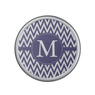 Purple White Chevron Monogram Speaker