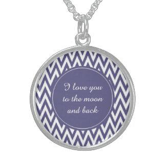 Purple White Chevron Sterling Silver Necklaces