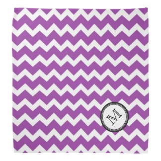 Purple White Chevron Pattern Monogram Bandana