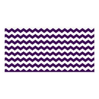Purple white chevrons photo cards