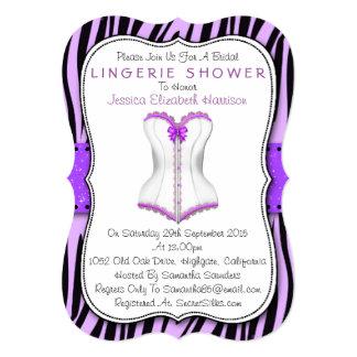 """Purple & White Corset Zebra Print Lingerie Shower 5"""" X 7"""" Invitation Card"""