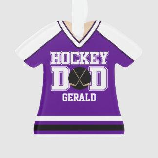 Purple/White Custom Hockey Dad Jersey Ornament