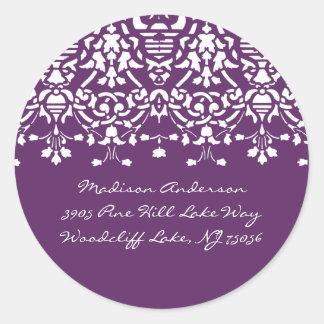 Purple & White Damask Address Label Stickers