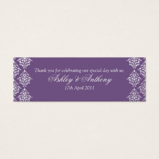 Purple White Damask Floral Wedding Favour Tags Mini Business Card