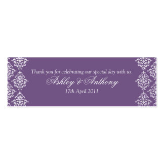 Purple White Damask Floral Wedding Favour Tags Pack Of Skinny Business Cards