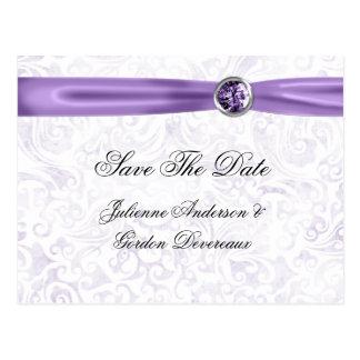 Purple White Damask Ribbon Jewels Save The Date Postcard