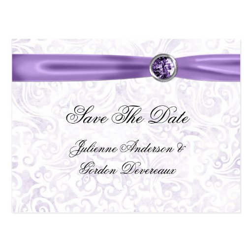 Purple White Damask Ribbon Jewels Save The Date Post Cards