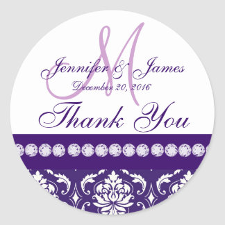 Purple White Damask Thank You Wedding Favor Round Sticker