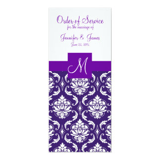 Purple White Damask Wedding Program