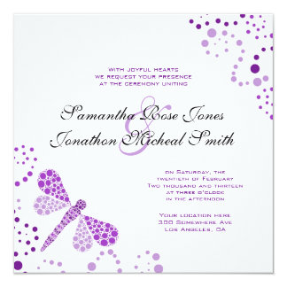 Purple White Dragonfly Pointilism Custom Wedding 13 Cm X 13 Cm Square Invitation Card