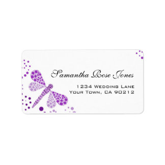 Purple White Dragonfly Pointillism Custom Address Address Label