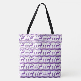 Purple White Fair Isle Christmas Sweater Pattern Tote Bag