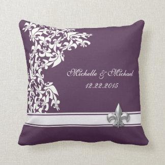 Purple White Fleur de Lis Keepsake Pillow