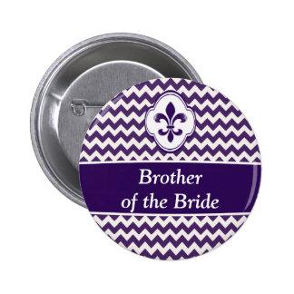 Purple White Fleur de Lis Wedding Party Buttons