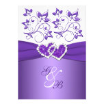 Purple & White Floral Joined Hearts Wedding Invite