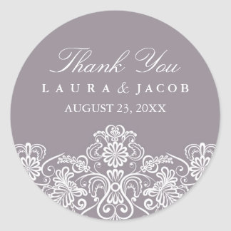 Purple & White Floral Lace Wedding Stickers