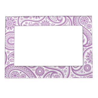 Purple White Floral Paisley Pattern Picture Frame Magnets
