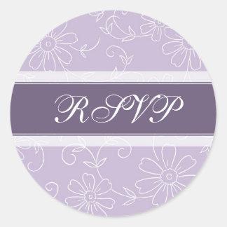 Purple White Floral RSVP Envelope Seals Round Sticker