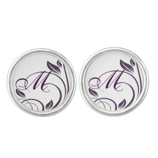 Purple & White Floral Swirls Wedding Postage Stamp Cufflinks