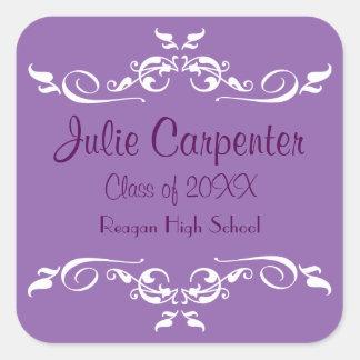 Purple & White Flourish -Square Graduation Sticker