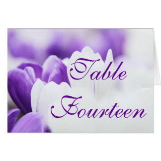Purple White Flower - Wedding Table Number Cards
