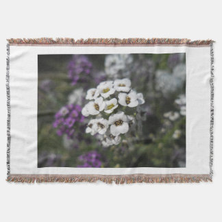 Purple & White Flowers Fleecy Blanket