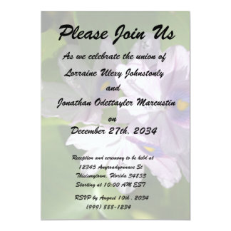 purple white flowers with eyes 13 cm x 18 cm invitation card