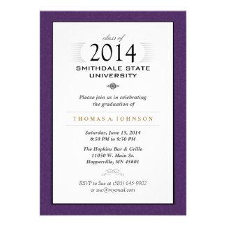 Purple & White Formal Graduation Invitation
