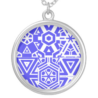 Purple White Geometric Design 4Patty Silver Plated Necklace
